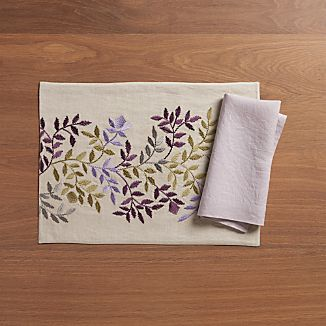 Aveline Lilac Placemat and Helena Lilac Linen Napkin