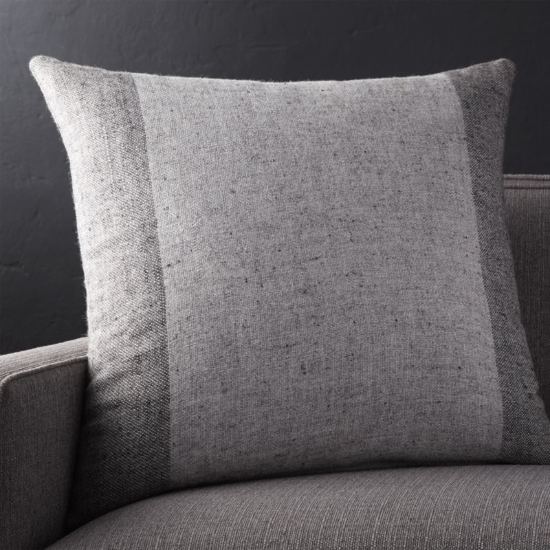 "Avi Graphite 23"" Pillow with Feather-Down Insert"
