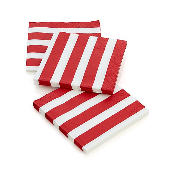 Set of 20 Awning Stripe Paper Cocktail Napkins