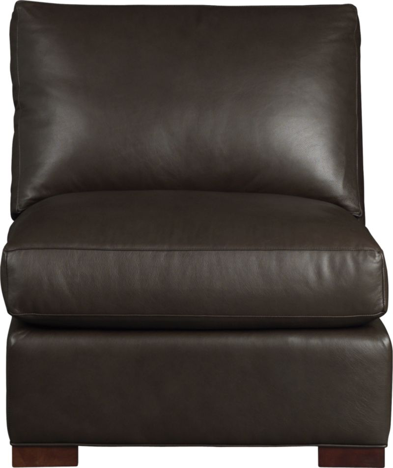 The clean lines of our best-selling Axis relax with casual sophistication in rich full-grain leather. Its natural markings and vintage nature add rich character. Plump back cushion frames the deep seat cushion. Block feet are stained a warm hickory.<br /><br />After you place your order, we will send a leather swatch via next day air for your final approval. We will contact you to verify both your receipt and approval of the leather swatch before finalizing your order.<br /><br /><NEWTAG/><ul><li>Eco-friendly construction</li><li>Certified sustainable, kiln-dried hardwood frame</li><li>Seat cushion is multilayer soy- or plant-based polyfoam wrapped in fiber-down blend and encased in downproof ticking</li><li>Back cushion is fiber-down encased in downproof ticking</li><li>Flexolator suspension</li><li>Upholstered in full grain, aniline-dyed leather with topstitching</li><li>Hickory-stained hardwood legs</li><li>Benchmade</li><li>See additional frame options below</li><li>Made in North Carolina, USA</li></ul>
