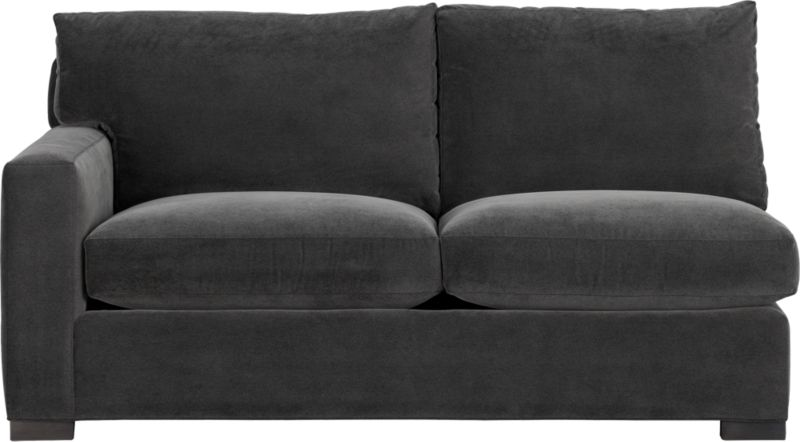 """Our most popular seating solution updates in a slightly slimmer profile with more room to stretch out and more options to dress with your own mix of throw pillows. Its simple lines anchor any room—whether classic, modern or a more eclectic mix—and it's a tremendous value for the quality of construction. Family-friendly fabric cozies in velvety and durable dark grey poly-blend. Benchmade frame is kiln-dried hardwood, and soft down-blend seat cushions have an indulgent wrap in downproof ticking to give it that extra """"ahh"""" factor when you sit down. Axis sectional also available.<br /><br /><strong>Axis II Left Arm Apartment Sofa in Valencia Rock is now on sale. Other colors available at additional cost.</strong><br /><br />After you place your order, we will send a fabric swatch via next day air for your final approval. We will contact you to verify both your receipt and approval of the fabric swatch before finalizing your order.<br /><br /><NEWTAG/><ul><li>Eco-friendly construction</li><li>Certified sustainable kiln-dried hardwood frame</li><li>Seat cushions are multilayer soy- or plant-based polyfoam wrapped in fiber-down blend and encased in downproof ticking</li><li>Back cushions are fiber-down blend in downproof ticking</li><li>Fabric is 29% polyester, 28% acrylic , 27% nylon and 16% cotton</li><li>Flexolator spring suspension</li><li>Square wood legs with a fossil finish</li><li>Benchmade</li><li>Made in North Carolina, USA of domestic and imported materials</li></ul>"""