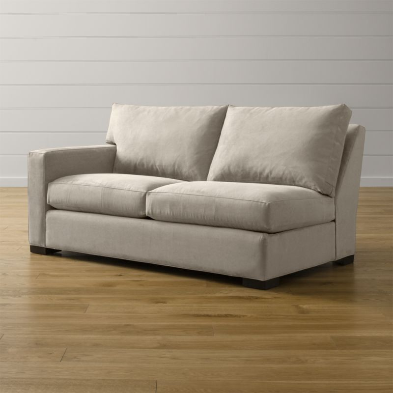 "Bring Axis home and watch life revolve around it. Upholstered in a high-performance fabric that's pet, kid, and family friendly, this left arm full sleeper sofa offers laid-back comfort in family rooms, casual living rooms and guest rooms. <NEWTAG/><ul><li>Frame is benchmade with certified sustainable hardwood that's kiln-dried to prevent warping</li><li>Soy-based polyfoam seat cushion wrapped in fiber-down blend and encased in downproof ticking</li><li>Fiber-down back cushion encased in downproof ticking</li><li>Bi-fold 5½"" innerspring mattress with quilted top pad</li><li>Sleeper mechanism features an anti-tip safety feature, low-profile support system and locking, tilt-up headrest</li><li>Hardwood legs stained with a hickory brown finish</li><li>Material origin: see swatch</li><li>Made in North Carolina, USA</li></ul>"