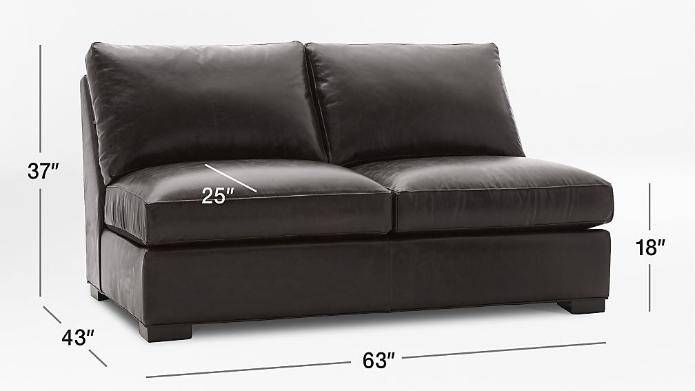Axis Armless Brown Leather Loveseat Crate And Barrel