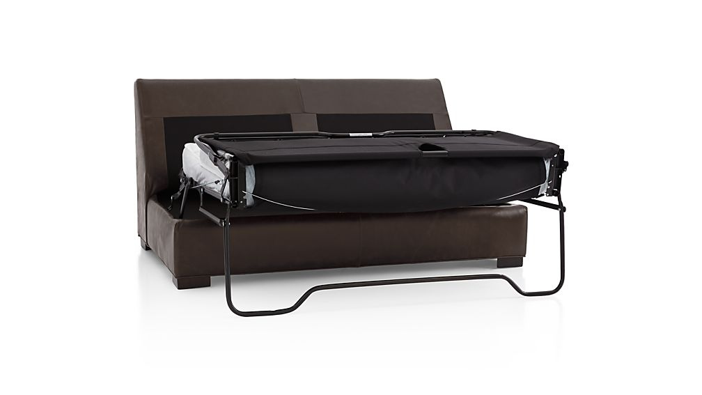 Axis II Leather Armless Full Sleeper Sofa with Air Mattress