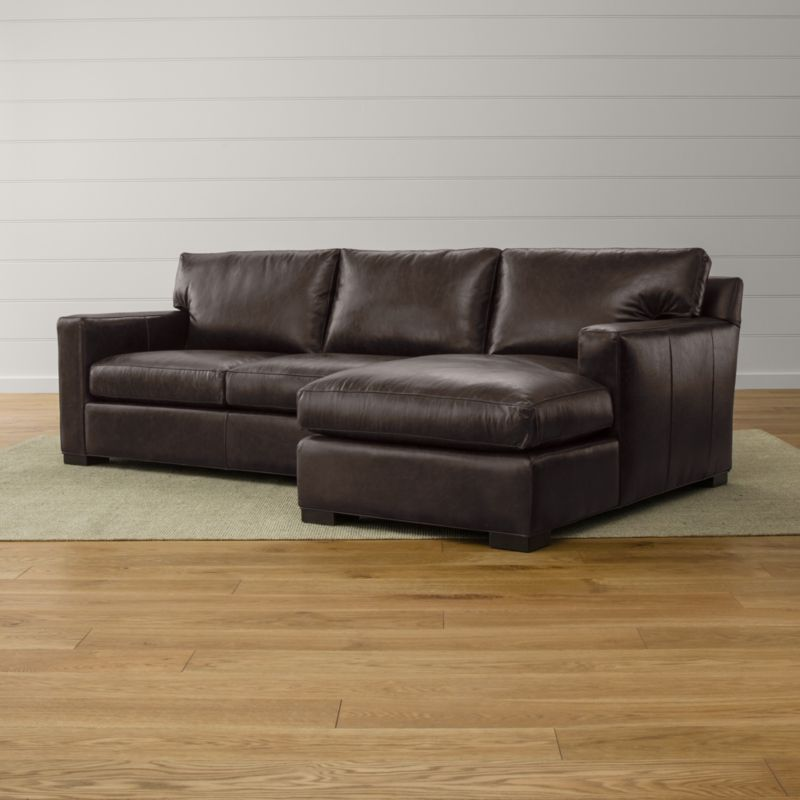 Axis ii leather 2 piece sectional sofa libby espresso for Sectional sofa bed crate and barrel