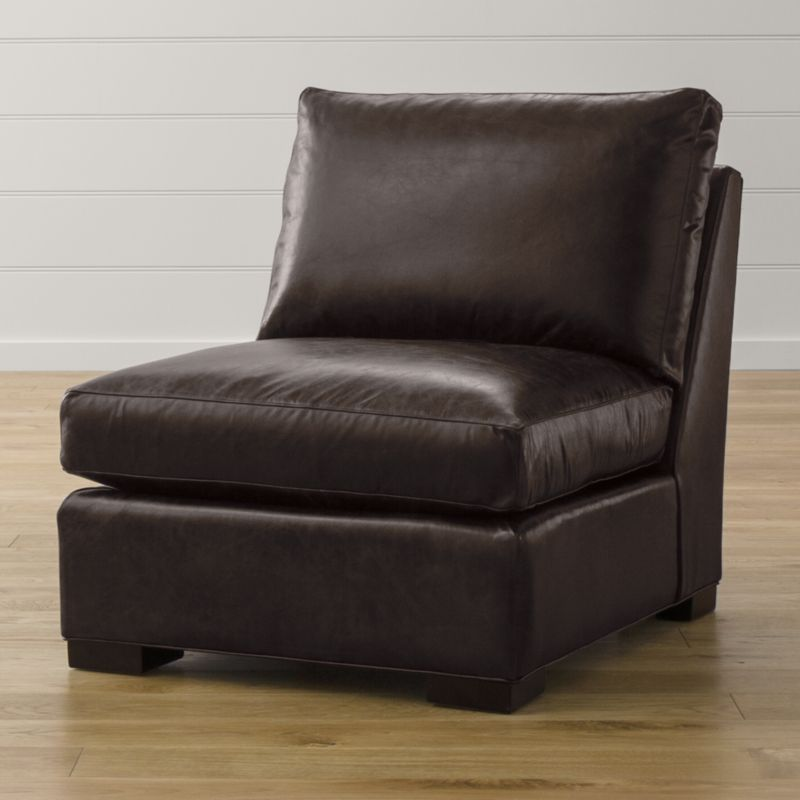 Axis ii leather armless chair libby espresso crate and for Crate and barrel armless chair