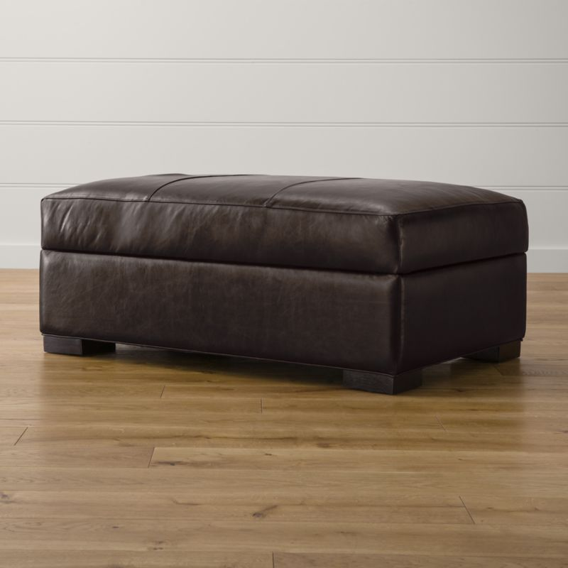 Axis ii leather storage ottoman libby espresso crate for Crate and barrel pouf
