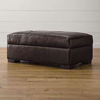 Axis II Leather Storage Ottoman