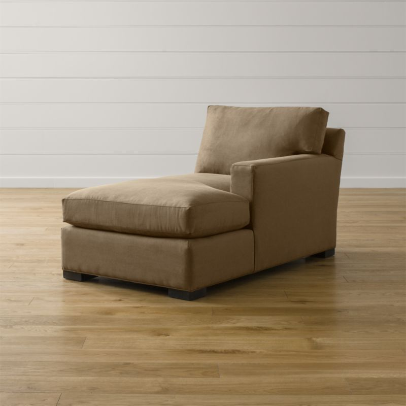 Bring Axis home and watch life revolve around it. Upholstered in a high-performance fabric that's pet, kid, and family friendly, this versatile collection offers exceptional durability for family rooms and casual living rooms. <NEWTAG/><ul><li>Frame is benchmade with certified sustainable hardwood that's kiln-dried to prevent warping</li><li>Flexolator spring suspension system</li><li>Soy-based polyfoam seat cushion wrapped in fiber-down blend and encased in downproof ticking</li><li>Fiber-down back cushion encased in downproof ticking</li><li>Hardwood legs stained with a hickory brown finish</li><li>Made in North Carolina, USA of domestic and imported materials</li></ul>