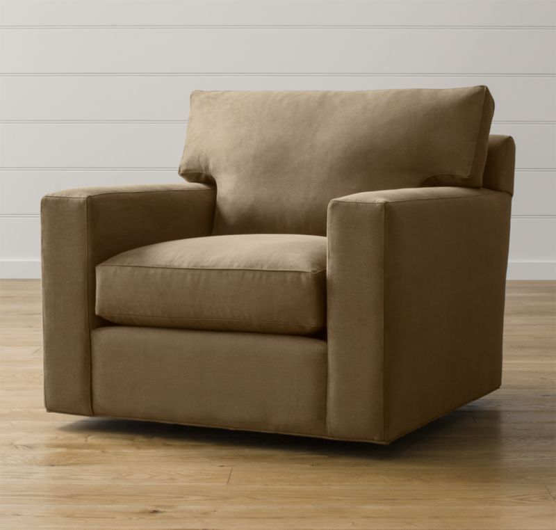 Bring Axis home and watch life revolve around it. Upholstered in a high-performance fabric that's pet, kid, and family friendly, this swivel chair offers exceptional durability for family rooms and casual living rooms. <NEWTAG/><ul><li>Frame is benchmade with certified sustainable hardwood that's kiln-dried to prevent warping</li><li>Flexolator spring suspension system</li><li>Soy-based polyfoam seat cushion wrapped in fiber-down blend and encased in downproof ticking</li><li>Fiber-down back cushion encased in downproof ticking</li><li>360-degree swivel mechanism</li><li>Made in North Carolina, USA of domestic and imported materials</li></ul>