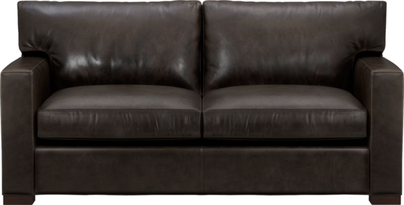 The clean lines of our best-selling Axis relax with casual sophistication in rich full-grain leather. Its natural markings and vintage nature add rich character. Wide track arms and plump back cushions frame deep seat cushions. Block feet are stained a warm hickory.<br /><br />After you place your order, we will send a leather swatch via next day air for your final approval. We will contact you to verify both your receipt and approval of the leather swatch before finalizing your order.<br /><br /><NEWTAG/><ul><li>Eco-friendly construction</li><li>Certified sustainable, kiln-dried hardwood frame</li><li>Seat cushions are multilayer soy- or plant-based polyfoam wrapped in fiber-down blend and encased in downproof ticking</li><li>Back cushions are fiber-down encased in downproof ticking</li><li>Flexolator suspension</li><li>Upholstered in full grain, aniline-dyed leather with topstitching</li><li>Hickory-stained hardwood legs</li><li>Benchmade</li><li>See additional frame options below</li><li>Made in North Carolina, USA of domestic and imported materials</li></ul>