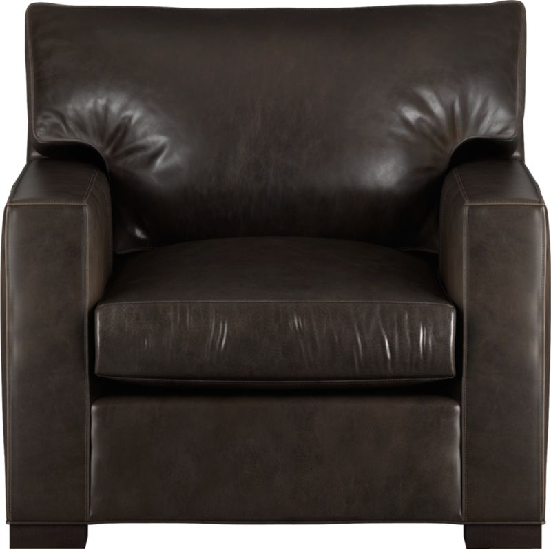 The clean lines of our best-selling Axis relax with casual sophistication in rich full-grain leather. Its natural markings and vintage nature add rich character. Wide track arms and plump back cushion frame the deep seat cushion. Block feet are stained a warm hickory.<br /><br />After you place your order, we will send a leather swatch via next day air for your final approval. We will contact you to verify both your receipt and approval of the leather swatch before finalizing your order.<br /><br /><NEWTAG/><ul><li>Eco-friendly construction</li><li>Certified sustainable, kiln-dried hardwood frame</li><li>Seat cushion is multilayer soy- or plant-based polyfoam wrapped in fiber-down blend and encased in downproof ticking</li><li>Back cushion is fiber-down encased in downproof ticking</li><li>Flexolator suspension</li><li>Upholstered in full grain, aniline-dyed leather with topstitching</li><li>Hickory-stained hardwood legs</li><li>Benchmade</li><li>See additional frame options below</li><li>Made in North Carolina, USA of domestic and imported materials</li></ul>