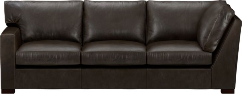 The clean lines of our best-selling Axis relax with casual sophistication in rich full-grain leather. Its natural markings and vintage nature add rich character. Wide track arm and plump back cushions frame the deep seat cushions. Block feet are stained a warm hickory.<br /><br />After you place your order, we will send a leather swatch via next day air for your final approval. We will contact you to verify both your receipt and approval of the leather swatch before finalizing your order.<br /><br /><NEWTAG/><ul><li>Eco-friendly construction</li><li>Certified sustainable, kiln-dried hardwood frame</li><li>Seat cushions are multilayer soy- or plant-based polyfoam wrapped in fiber-down blend and encased in downproof ticking</li><li>Back cushions are fiber-down encased in downproof ticking</li><li>Flexolator suspension</li><li>Upholstered in full grain, aniline-dyed leather with topstitching</li><li>Hickory-stained hardwood legs</li><li>Benchmade</li><li>See additional frame options below</li><li>Made in North Carolina, USA of domestic and imported materials</li></ul>