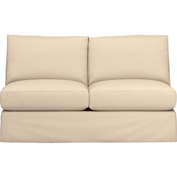 Axis Slipcovered Armless Sectional Full Sleeper Sofa