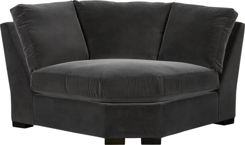 """Our most popular seating solution updates in a slightly slimmer profile with more room to stretch out and more options to dress with your own mix of throw pillows. Its simple lines anchor any room—whether classic, modern or a more eclectic mix—and it's a tremendous value for the quality of construction. Family-friendly fabric cozies in velvety and durable dark grey poly-blend. Benchmade frame is kiln-dried hardwood, and soft down-blend seat cushions have an indulgent wrap in downproof ticking to give it that extra """"ahh"""" factor when you sit down. Axis sofa group also available.<br /><br /><strong>Axis II Wedge in Valencia Rock is now on sale. Other colors available at additional cost.</strong><br /><br />After you place your order, we will send a fabric swatch via next day air for your final approval. We will contact you to verify both your receipt and approval of the fabric swatch before finalizing your order.<br /><br /><br /><NEWTAG/><ul><li>Certified sustainable kiln-dried hardwood frame</li><li>Seat cushions are multilayer soy- or plant-based polyfoam wrapped in fiber-down blend and encased in downproof ticking</li><li>Back cushions are fiber-down blend in downproof ticking</li><li>Fabric is 29% polyester, 28% acrylic, 27% nylon and 16% cotton</li><li>Flexolator spring suspension</li><li>Square wood legs with a fossil finish</li><li>Benchmade</li><li>Made in North Carolina, USA of domestic and imported materials</li></ul>"""