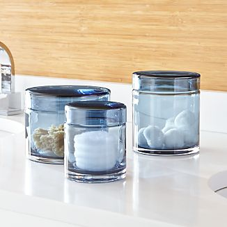 Set of 3 Mode Azure Glass Canisters