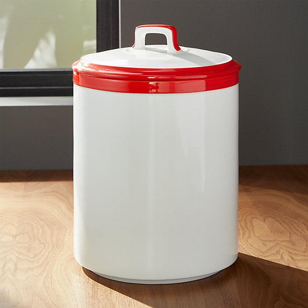 Baker Red and White Kitchen Canister Large
