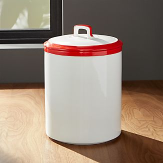 Baker Red and White Kitchen Canister Medium