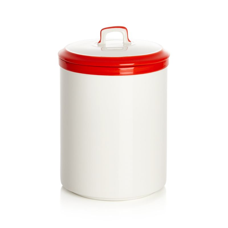 Baker Red and White Kitchen Canister Small