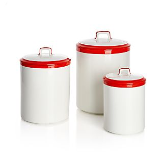Baker Red and White Kitchen Canisters