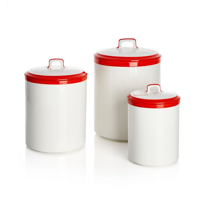 Baker Canisters Red Rim Set of Three