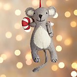 Baking Mouse with Candy Cane Felt Ornament