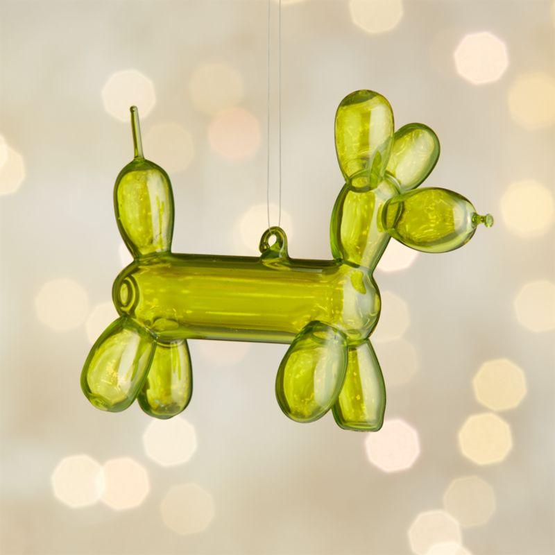 Green Balloon Dog Glass Ornament