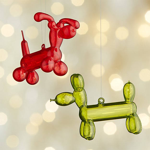 Balloon Dog Glass Ornaments