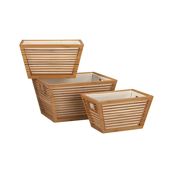 Set of 3 Bamboo Storage Totes with Liners