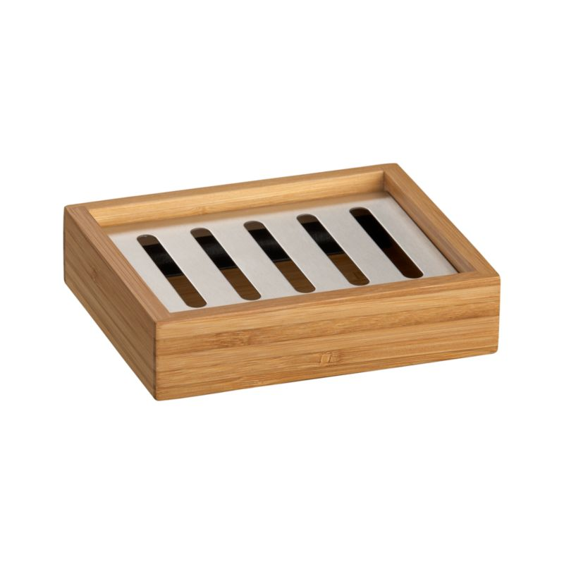 Intricately pieced, eco-friendly bamboo glows with a warm, natural finish. Each richly grained accessory is beautifully crafted with clean, classic lines. Stainless steel liner lets soap dry between use, polypropylene liner makes for easy cleaning.<br /><br /><NEWTAG/><ul><li>Bamboo, stainless steel and polypropylene</li><li>Wipe with a damp cloth</li><li>Made in China</li></ul>