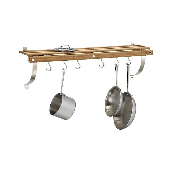 Bamboo Wall Mounted Pot Rack