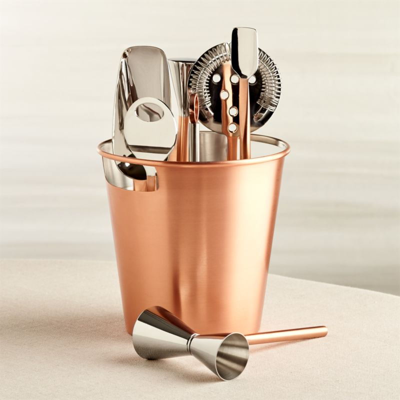 Stainless Steel Bar Tool Set with Copper Finish