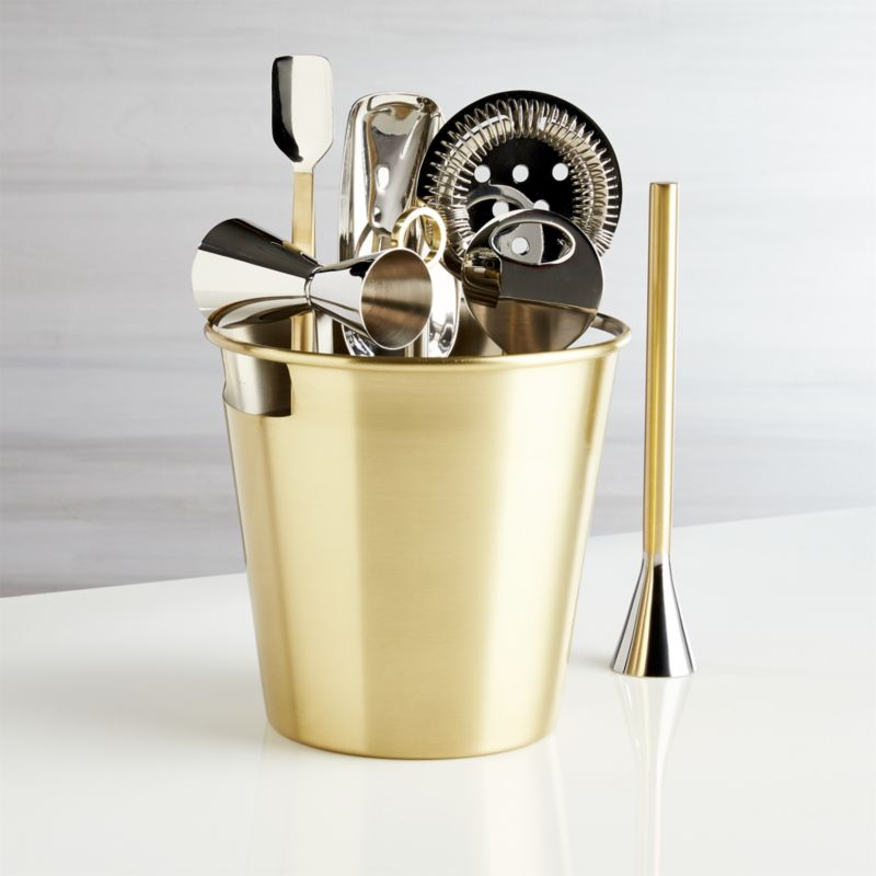Stainless Steel Bar Tool Set with Gold Finish