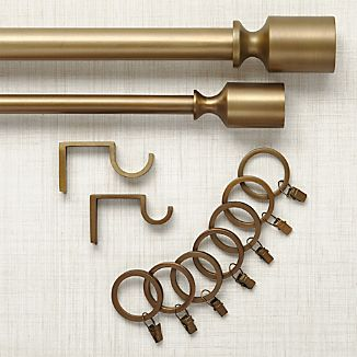 Barnes Antiqued Brass Curtain Hardware