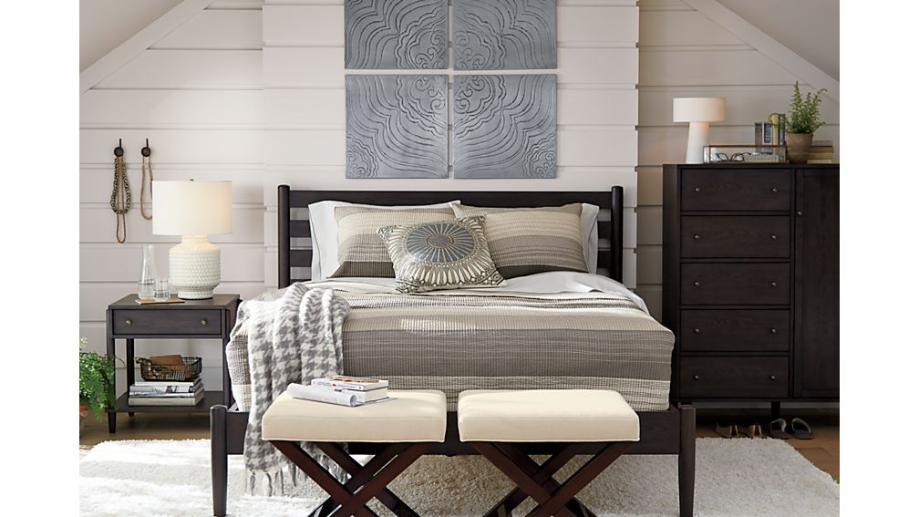 Barnes smoke brown queen bed in beds headboards crate and barrel Crate and barrel bedroom set