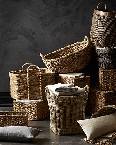 A number of wicker baskets