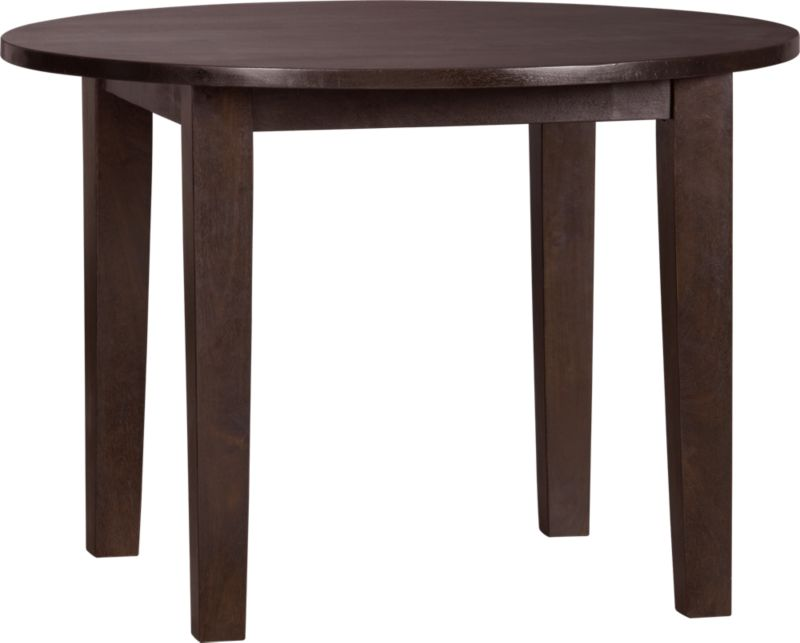 Hand-hewn, compact table has the heft and character of European farmhouse antiques. The simple, rustic design has substantial legs and a hand-planed plank top with authentic peg detailing on the table. Open grain and knots are unique to each piece. The java finish is waxed to a soft sheen.<br /><br /><NEWTAG/><ul><li>Handcrafted</li><li>Sustainable, kiln-dried solid mango wood</li><li>Rich java finish</li><li>Naturally occurring grain and knots</li><li>Tongue and groove joinery</li><li>Table seats up to four</li></ul>