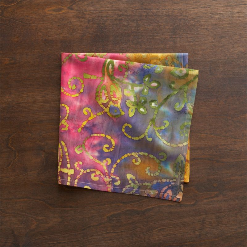 Everyone's favorite fabric craft gets a masterful turn in artisan-created tie-dyed cotton. Tight ties of string and careful application of saturated dyes create batik-like botanicals on a rainbow of swirling watercolor brights. Each pattern will be unique.<br /><br /><NEWTAG/><ul><li>100% cotton</li><li>Machine wash; line dry</li></ul>