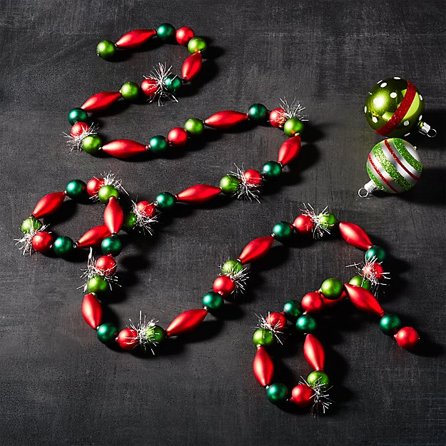 Red and Green Bauble Garland with Tinsel