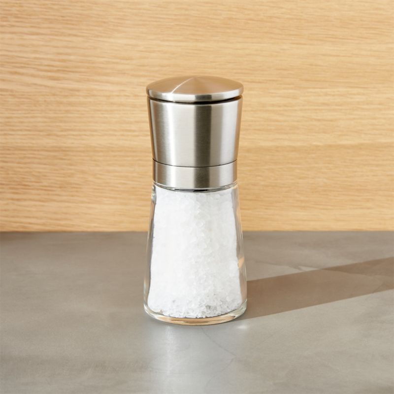 Sleek stainless mill offers unique modern styling and seasoning. Remove stainless cap to reveal adjustable grinding mechanism and dispense salt. Smart design prevents residual spill.<br /><br /><NEWTAG/><ul><li>Comes filled with sea salt</li><li>Ceramic grinder</li><li>Made in China</li></ul>