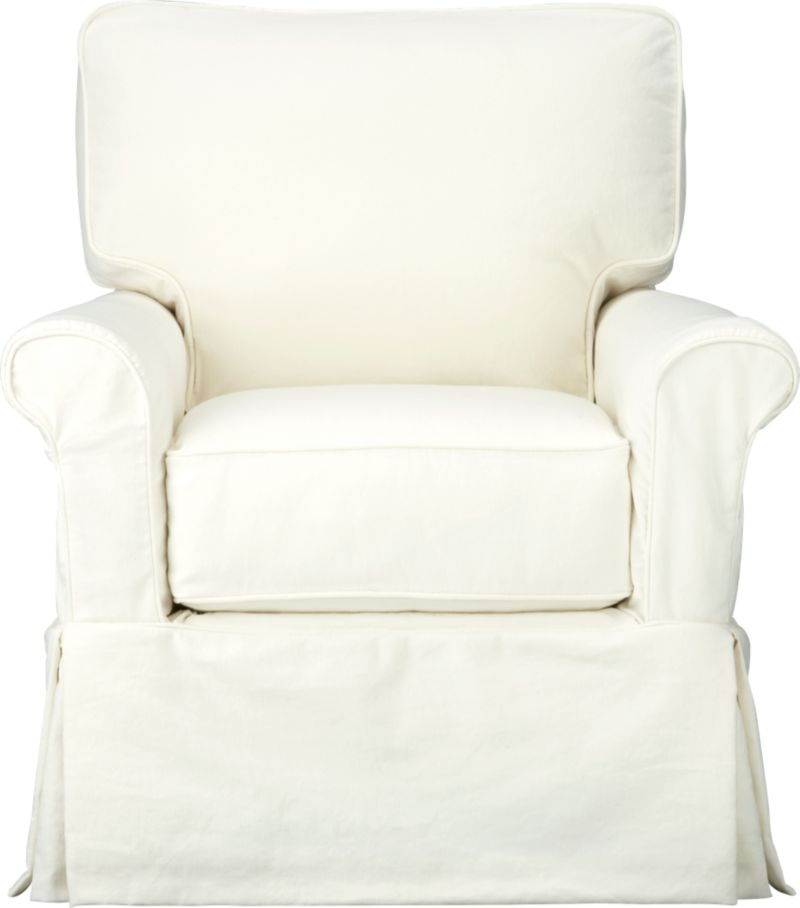 "Machine-washable skirted slipcover tailored for Bayside Swivel Chair takes on everyday living.<br /><br />Additional <a href=""http://crateandbarrel.custhelp.com/cgi-bin/crateandbarrel.cfg/php/enduser/crate_answer.php?popup=-1&p_faqid=125&p_sid=DMUxFvPi"">slipcovers</a> available below and through stores featuring our Furniture Collection.<br /><br />After you place your order, we will send a fabric swatch via next day air for your final approval. We will contact you to verify both your receipt and approval of the fabric swatch before finalizing your order.<br /><br /><NEWTAG/><ul><li>89% cotton, 11% polyester</li><li>Machine washable</li><li>Made in North Carolina, USA of domestic and imported materials</li></ul><br />"
