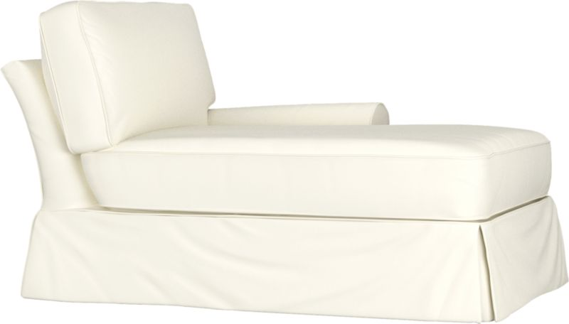 """Machine-washable skirted slipcover tailored for Bayside Right Arm Chaise takes on everyday living.<br /><br />Additional <a href=""""http://crateandbarrel.custhelp.com/cgi-bin/crateandbarrel.cfg/php/enduser/crate_answer.php?popup=-1&p_faqid=125&p_sid=DMUxFvPi"""">slipcovers</a> available below and through stores featuring our Furniture Collection.<br /><br />After you place your order, we will send a fabric swatch via next day air for your final approval. We will contact you to verify both your receipt and approval of the fabric swatch before finalizing your order.<br /><br /><NEWTAG/><ul><li>89% cotton, 11% polyester</li><li>Machine washable</li></ul><br />"""