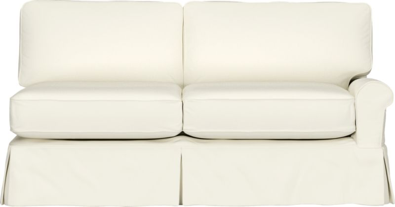 "Machine-washable skirted slipcover tailored for Bayside Right Arm Sofa takes on everyday living.<br /><br />Additional <a href=""http://crateandbarrel.custhelp.com/cgi-bin/crateandbarrel.cfg/php/enduser/crate_answer.php?popup=-1&p_faqid=125&p_sid=DMUxFvPi"">slipcovers</a> available below and through stores featuring our Furniture Collection.<br /><br />After you place your order, we will send a fabric swatch via next day air for your final approval. We will contact you to verify both your receipt and approval of the fabric swatch before finalizing your order.<br /><br /><NEWTAG/><ul><li>89% cotton, 11% polyester</li><li>Machine washable</li></ul><br />"