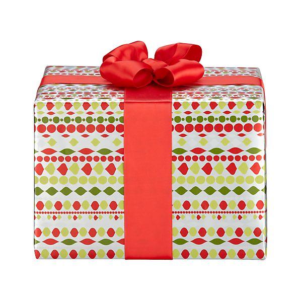 Metallic Red Beaded Ornament Garland Gift Wrap