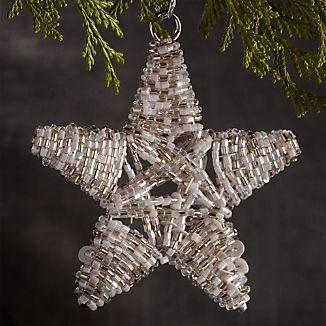 Beaded White/Silver Star Ornament
