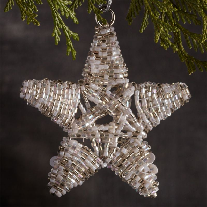 Beaded White/Silver Star Ornament