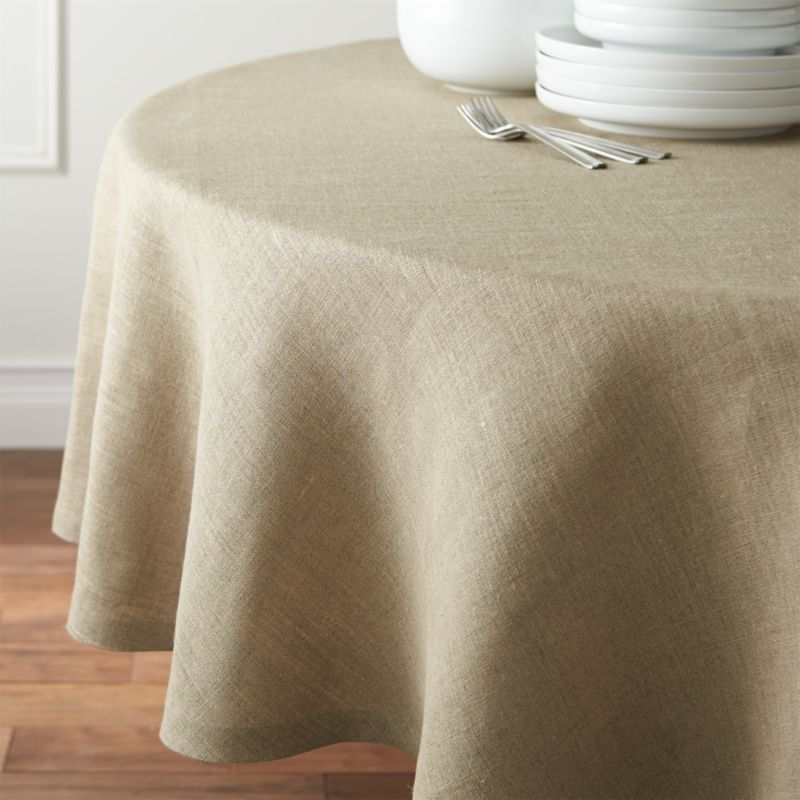 Beckett Natural 90 Round Linen Tablecloth Crate And Barrel