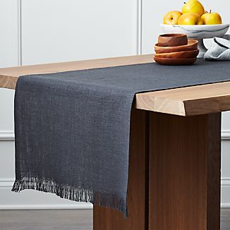 Beckett Graphite Grey Linen Table Runner