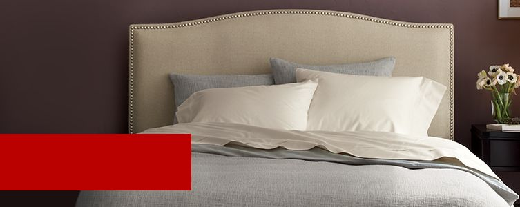 Larson bed with Bren Bed Duvet Covers and Pillow Shams. 20% off Mattresses and Bedding, plus up to 20% off beds. Ends February 29. Exclusions apply.