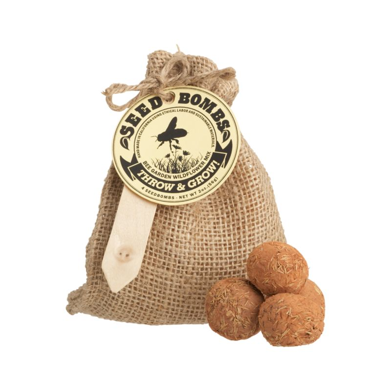 Launch these fun seed balls wherever the landscape needs an eco-friendly hit of color. Clay balls are loaded with hearty and easy-to-grow seeds. Just drench with water and bury partially in soil for a crop of bee-attracting wildflowers. Great for beautifying small gardens or vacant lots. Seed bombs are packed four to a burlap bag, the perfect gift for a garden party.<br /><br /><NEWTAG/><ul><li>Handcrafted</li><li>4 seed bombs: seed, clay and soil conditioner</li><li>Packaged in burlap bag</li><li>Made in USA</li></ul>